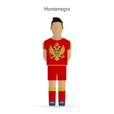 Montenegro football player. Soccer uniform.  illustration. Vector