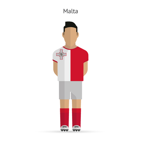 Malta football player. Soccer uniform. illustration. Vector