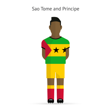 principe: Santo Tom� y Pr�ncipe jugador de f�tbol. Uniforme de f�tbol. la ilustraci�n.