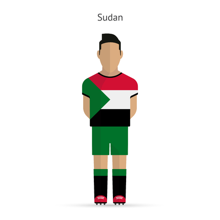 Sudan football player. Soccer uniform. illustration. Vector