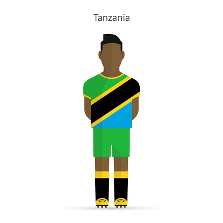 Tanzania football player. Soccer uniform.  illustration. Vector