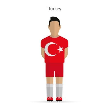 Turkey football player. Soccer uniform. illustration. Vector