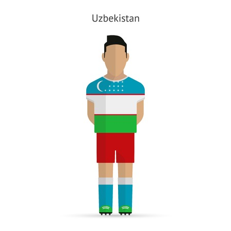 uzbekistan: Uzbekistan football player. Soccer uniform.illustration.