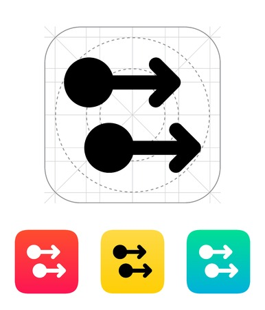 trackpad: Two Finger drag right gesture abstract icon. Vector illustration.