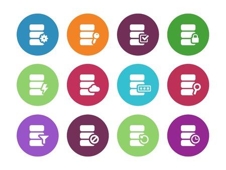 Database circle icons on white background. Vector illustration.