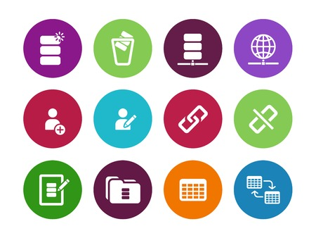 Database circle icons on white background. Vector illustration. Vector