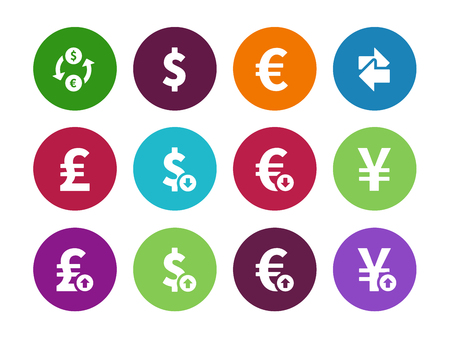 Exchange Rate circle icons on white background. Vector illustration. Vector