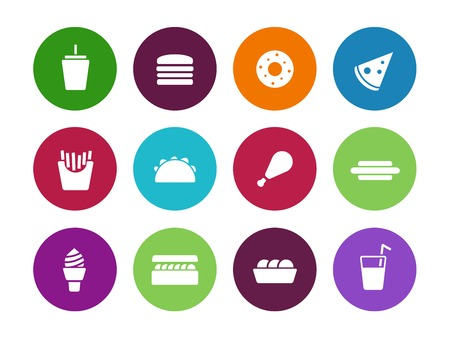 Fast food circle icons on white background. Vector illustration. Vector