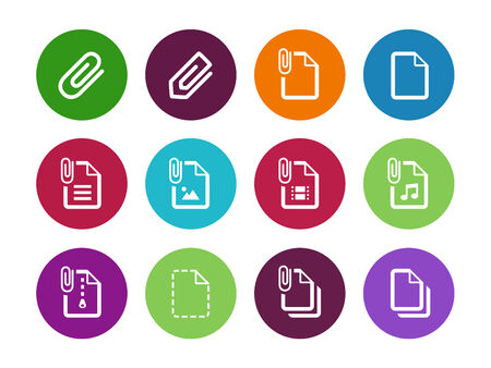 File Clip circle icons on white background. Vector illustration. Vector