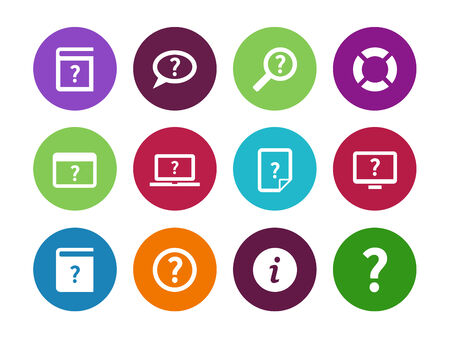 faq: Help and FAQ circle icons on white background. Vector illustration.