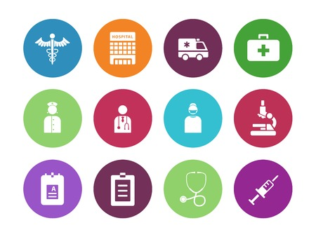 Hospital circle icons on white background. Vector illustration. Vector