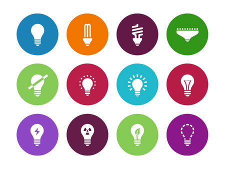 compact fluorescent lightbulb: Light bulb and CFL lamp circle icons on white background. Vector illustration.