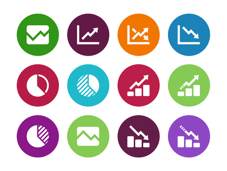 Line chart and Diagram circle icons on white background. Vector illustration. 向量圖像