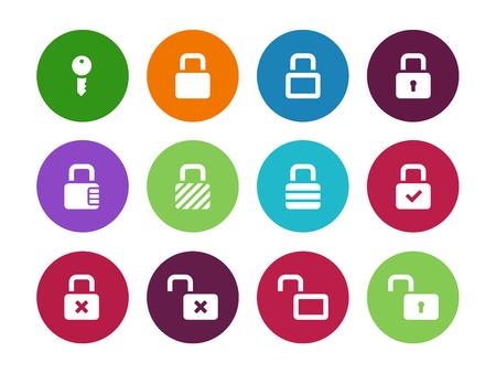 combination lock: Locks circle icons on white background. Vector illustration. Illustration