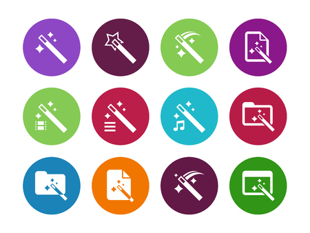 wizard: Magician circle icons isolated on white background. Vector illustration.