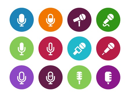Microphone circle icons on white background. Vector illustration. Vector