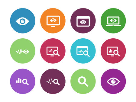 Observation and Monitoring circle icons on white background. Vector illustration.