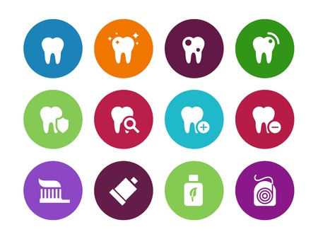 Tooth, teeth circle icons on white background. Vector illustration.
