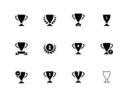 icono deportes: Iconos de trofeo en el fondo blanco Vectores