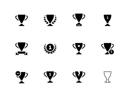 Trophy icons on white background