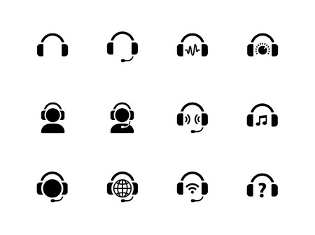 dj headphones: Headphones icons on white background  Illustration