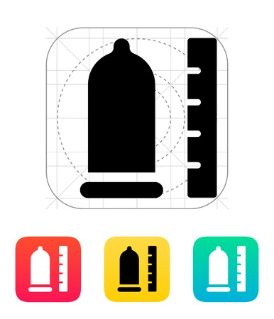 Condom with ruler icon  Illustration
