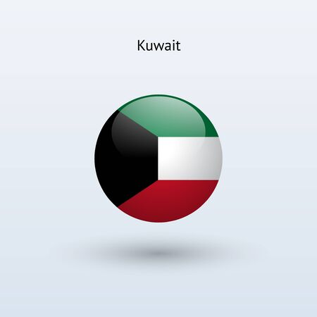 kuwait: Kuwait round flag  Vector illustration  Illustration