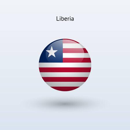 liberia: Liberia round flag  Vector illustration