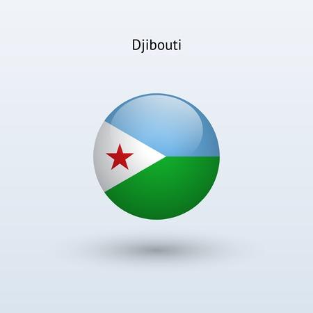 Djibouti round flag  Vector illustration  Illustration