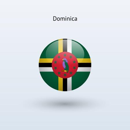 dominica: Dominica round flag  Vector illustration