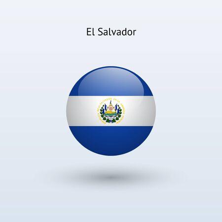 bandera de el salvador: El Salvador ronda pabell�n ilustraci�n vectorial