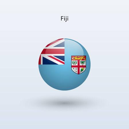 fiji: Fiji round flag  Vector illustration