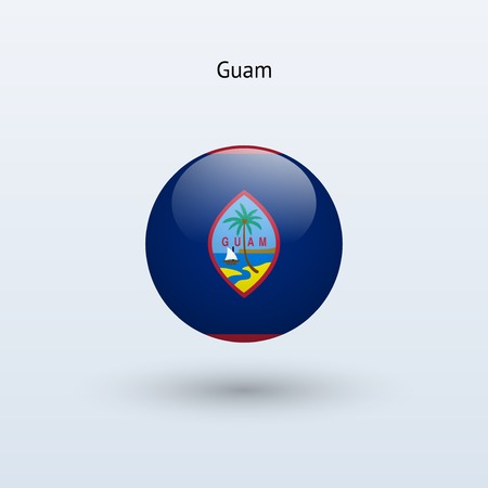 guam: Guam round flag  Vector illustration  Illustration