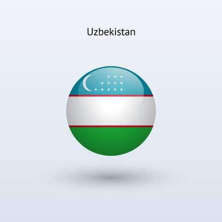 oezbekistan: Oezbekistan ronde vlag Vector illustratie Stock Illustratie