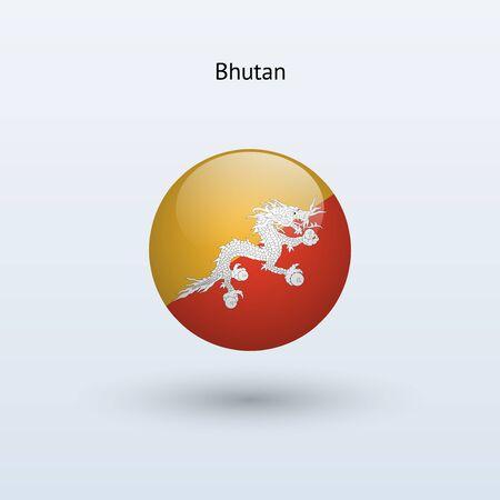 bhutan: Bhutan ronde vlag Vector illustratie