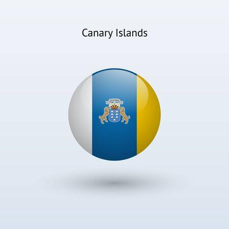canary islands: Canary Islands round flag  Vector illustration