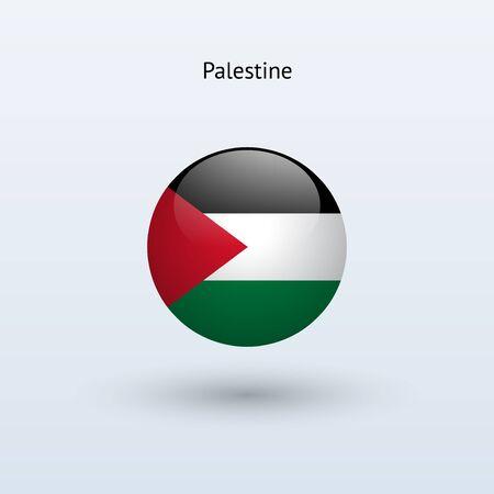 palestine: Palestine round flag  Vector illustration