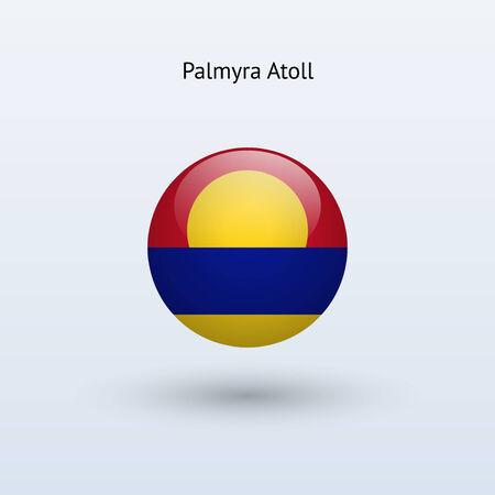 atoll: Palmyra Atoll round flag  Vector illustration  Illustration
