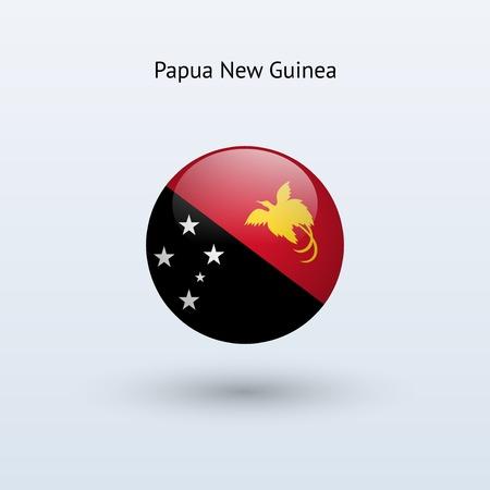 papouasie: Ronde Papouasie Nouvelle Guin�e drapeau Vector illustration