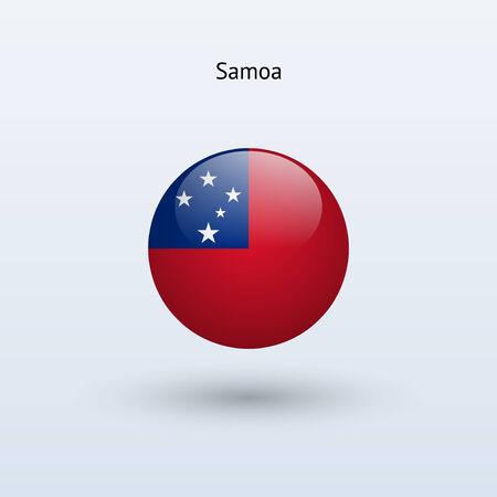 samoa: Samoa round flag  Vector illustration
