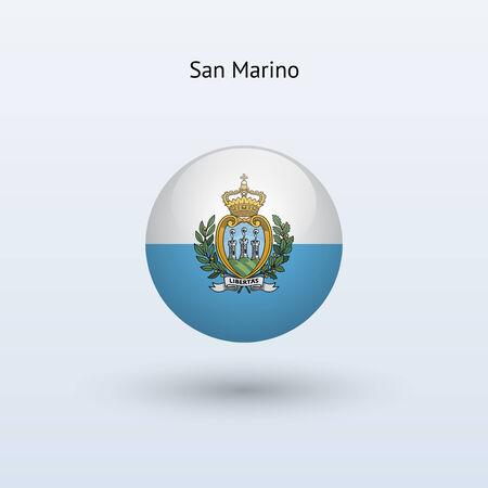 marino: San Marino round flag  Vector illustration  Illustration