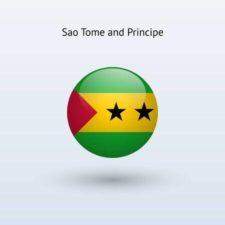 principe: Santo Tom� y Pr�ncipe Bandera redonda Vectores