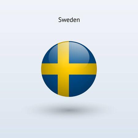 Sweden round flag  Vector illustration  Vector