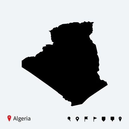 High detailed vector map of Algeria with navigation pins  Vector