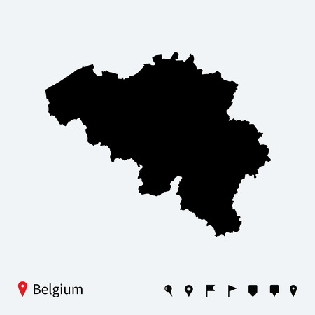 High detailed vector map of Belgium with navigation pins  Vector