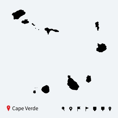 cape verde: High detailed vector map of Cape Verde with navigation pins  Illustration