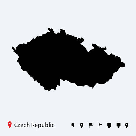 High detailed vector map of Czech Republic with navigation pins  Vector
