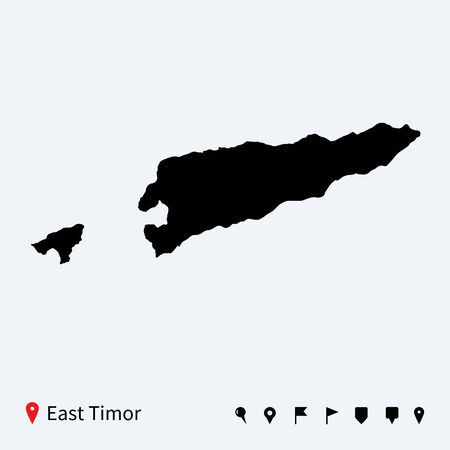 timor: High detailed vector map of East Timor with navigation pins