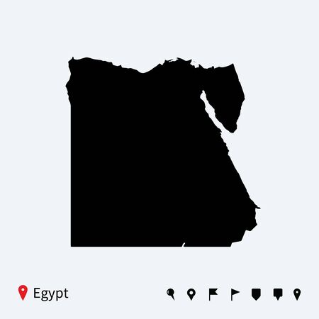 High detailed vector map of Egypt with navigation pins  Vector
