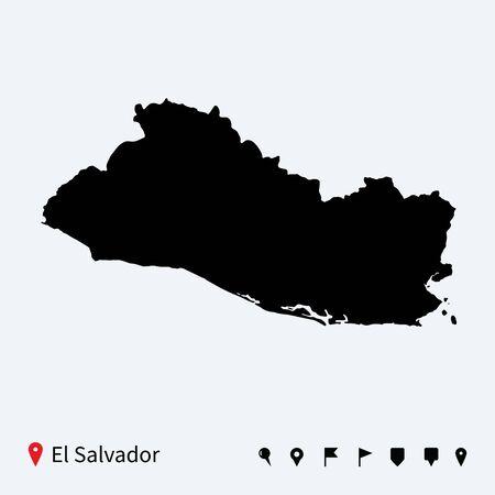 mapa de el salvador: Mapa de alta vectorial detallado de El Salvador con los pernos de navegaci�n Vectores